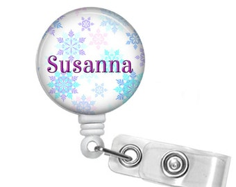 Personalized Pastel Blizzard, Retractable ID Badge Reel