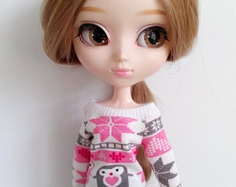 Pink penguins blouse for pullip dal isul blythe azone and similar dolls