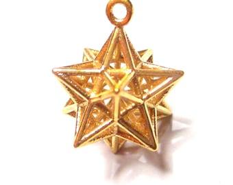 Solar Spirit Star *NEW* Sacred Geometry 3D Jewelry Gold * stellated Dodecahedron * 12 Pentagram Pendant * Phi Harmony * Golden Ratio Mandala