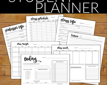 Student Planner Set - Printable University/College Student Organizer with 7 Unique Pages