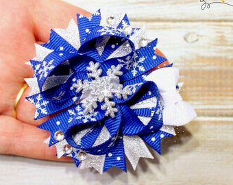 Snowflake Micro Over the Top Bow | Snowflake Mini Bow | Blue and White Snowflake Bow | Micro Over the Top Bow |