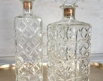 Vintage Glass Decanter / Vintage Pressed Glass Decanter