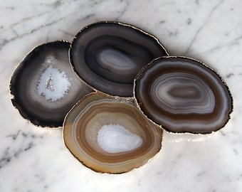 Natural Agate Coasters Set of 2 or 4 or 6 Gold Plated / Purple Agate Slice/ Geode Coasters / Gold Rimmed Coasters