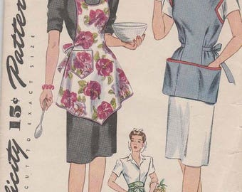 Vintage 1942 Simplicity Apron Pattern No.4939 with Pockets Misses and Womens Size Medium