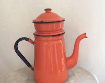 Orange Enamel Coffee Pot