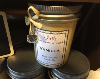 All Natural Handmade Soy Candle 8 oz Jelly Jar - Vanilla Scent