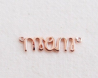 P0-833-PG] Mom / 21 x 38mm / Pink Gold plated / Pendant / 2 pieces