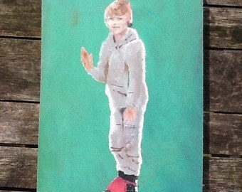 Oil painting on board.boy on roller skates.rollerskating.original oil painting.green painting.grey colourful wall hanging.colorful art.ohboy