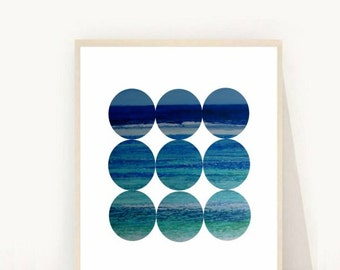 Abstract Art Print, Circles Print, Printable Wall Art, Sea Abstract, Modern Wall art, Digital Art, Instant Download, Blue Abstract