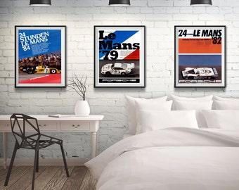 Motor Sport Posters Le Mans Car Poster Set of Car Prints Le Mans 1979 Poster 1982 Poster 1984 Poster Sizes up to 50cm x 70cm