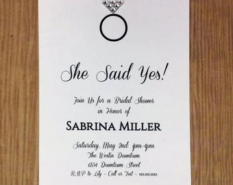 Diamond Ring Wedding/Bridal Shower Invitation | She Said Yes