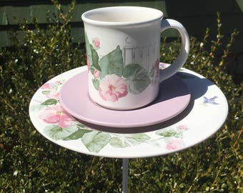 Ceramic bird feeder - garden accessories - garden decor - upcycled teacup feeder - butterfly feeder - humming bird feeder - tea cup totem