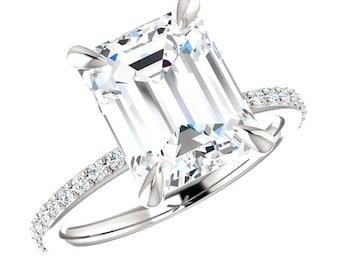 3.50 carat (10x8mm) Emerald-Cut FOREVER ONE Moissanite & Diamond Engagement Ring, Emerald Moissanite Rings for Women, Anniversary Rings 14k