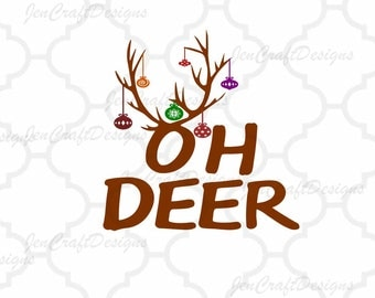 OH DEER Svg Frame Cutting Files, SVG Eps Png Dxf, Cricut Design Space, Silhouette Studio, Digital Cut Files layered, Print Then Cut