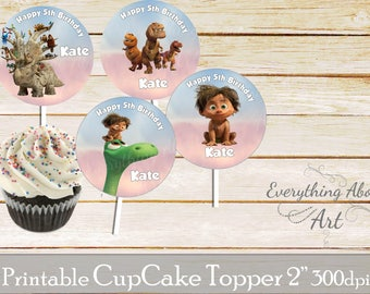 The good dinosaur birthday cupcake toppers printable, Good dinosaur birthday, Printable cupcake toppers, Birthday party cupcake toppers