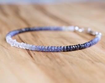 Shaded Sapphire Bracelet  // Sapphire Ombre Bracelet // September Birthstone