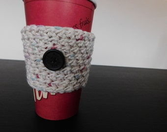 Cotton Candy Cup Sleeve With Button// Crochet Coffee Cup Sleeve // Mug Cozy // Stocking Stuffer