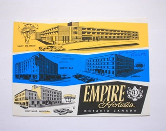 Empire Motor Hotels Postcard / Vintage Hotels / Empire Hotel North Bay/ Empire Hotel Huntsville/ Empire Sault Ste. Marie Vintage Hotel Chain