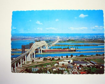Sault Ste. Marie International Bridge Postcard / Soo locks postcard / Sault Ste. Marie Postcard / Canada US Bridge Postcard