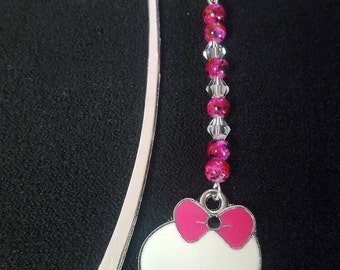 Cute white skull and pink glass bead bookmark