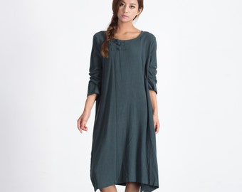 Women's maxi dress Loose Autumn Winter linen pullover Long linen Kaftan plus size clothing large size dress Custom-made clothing A08