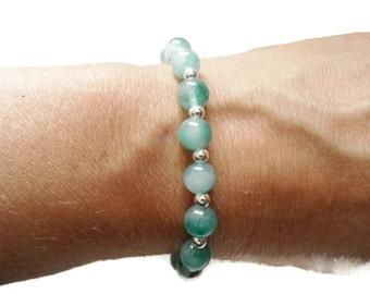 Magnifique Bracelet Jade En Argent Massif 925