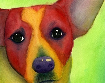 Colorful Pet Painting.  Custom, Made to Order, Original Watercolor Portrait of Pet/Animal. Pop art. Fun. Gift or Memorial. Prints also