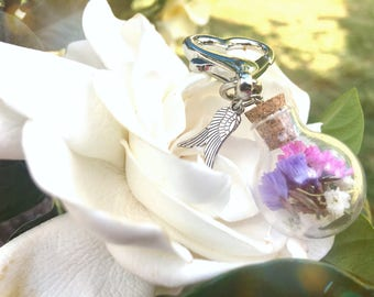 Funeral Flowers, Memorial flower, Memorial Jewelry, Glass Globe Keychain, memorial keychain, in memory