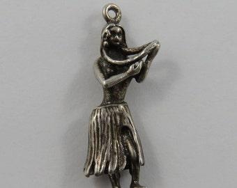 Hula Girl Sterling Silver Vintage Charm For Bracelet