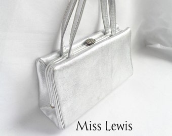 Vintage Crown Miss Lewis Silver Metallic Lame Box Handbag with Rhinestone Clasp and Double Handle  - Nice Shape and Size