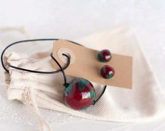 """Helix Nebula Clay Pearl Necklace and Stud Earrings Set, """"Space Jewelry"""" Series"""