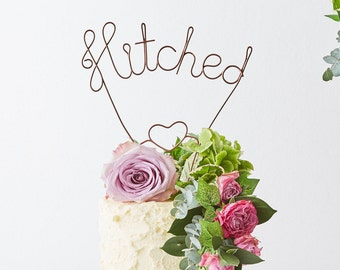 Hitched Wedding Cake Topper, Copper Cake Topper, Wire Cake Topper, Metallic Cake Topper, Cake Topper, Gold Cake Topper, getting hitched
