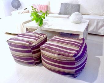"Square - modern fabric pouf - puff ottoman - floor cushion design pouff (16""x16""x12""-40x40x30cm)"