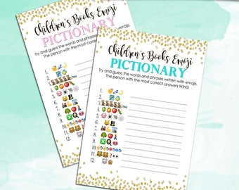 Baby Shower Game - Children's Books Emoji Pictionary - Pink AND Blue - Instant Printable Digital Download - diy Baby Shower Printables
