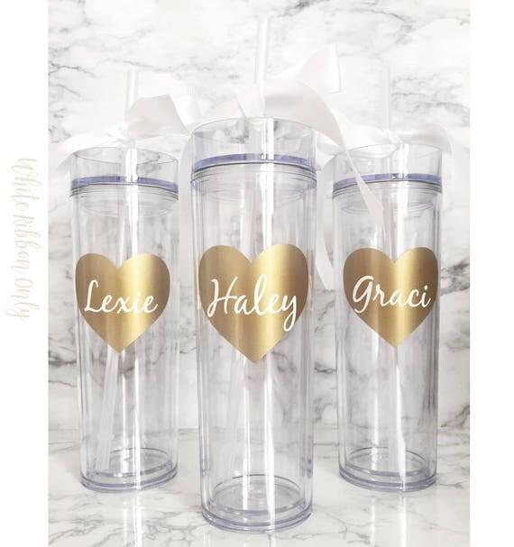 4 Custom skinny tumblers, personalized cups, bridal shower gift, wedding cup, wedding favors, summer wedding, tropical wedding, seahorse