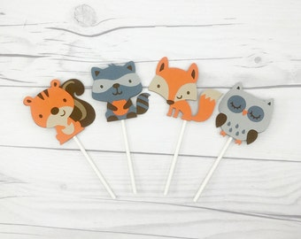 Woodland Creature Cupcake Toppers - Woodland Party Decorations - Woodland Baby Shower - Cupcake Toppers
