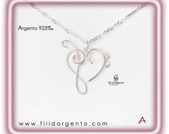 """Pendant """"Heart with Treble Clef and Bass Clef"""" Wire in Sterling Silver 925 ‰ - Craft"""