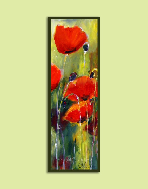 Poppy Painting Painting Flowers Vertical Painting Narrow
