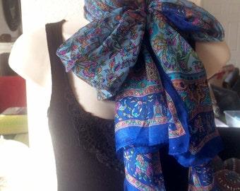 Elephant Silk Scarf,Peacock scarf,Navy Blue and turquoise wrap,Paisley silk scarf,100% Silk,kashmiri Scarf,Head scarf,Paisley fabric