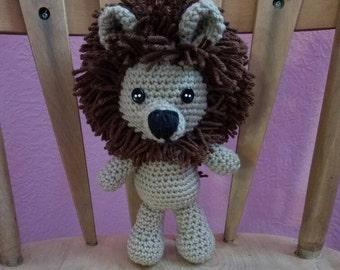 Handmade stuffed crochet lion animal (tan)
