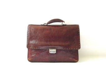 Brown Leather Briefcase / Brown Leather Portfolio