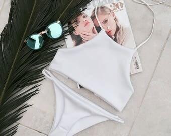 White halter neck swimsuit - swimwear, halter neck swimsuit