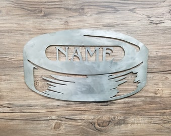 Hockey Puck With Name (Home Decor, Wall Art, Metal Art, {Can Be Personalized})