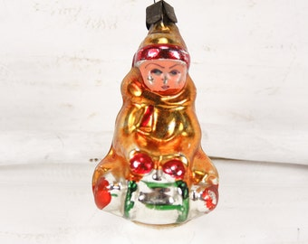 Rare vintage glass Christmas ornament Tree decoration New Year Girl on sledge t150