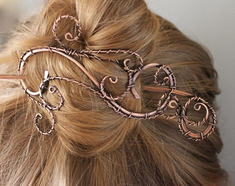 Elegant Hair Jewelry Clip, Copper Wire Wrapped Jewelry Handmade, Hair Accessories for Women With Plain Stick, Decorative Stick or Both