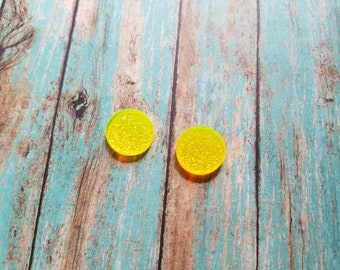 16mm Acrylic Light Yellow LITTLE Sparkles Earring Blanks - Monogrammed Earrings - Monogram Blanks - Earring Blanks -