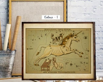 Urania's Mirror, Antique World Map, Celestial Star Charts, Zodiac, Night Star Sky, The Constellations,  A view of the heavens