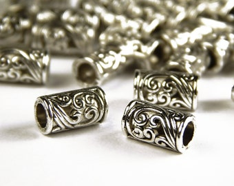 25 Pcs - 8x5mm Bali Style Tube Spacer Beads - Floral Pattern - Tibetan Silver - Metal Spacer Beads - Jewelry Supplies