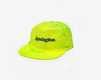Vintage 90s Remington Neon Yellow/Green Tie Dye Snapback Hat | Throwback Paradise