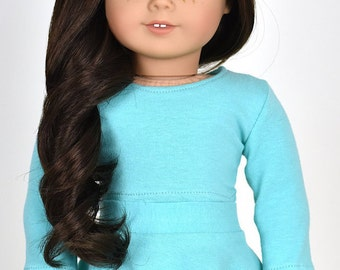 Long sleeve cropped top for 18 inch dolls Color Mint/Aqua